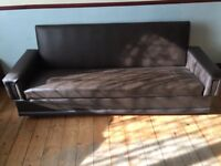 2 Brown faux leather sofa sofa bed for quick sale £40 each
