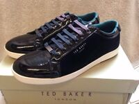 BRAND NEW TED BAKER MEN'S BLACK PATENT LEATHER YOCOB TRAINERS UK 8