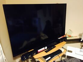 TV in great condition, less than one year old, with soundbar, quality as new