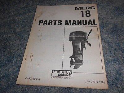 VINTAGE 1981 MERCURY MARINE MERC 18 PARTS MANUAL DIAGRAMS ILLUSTRATIONS