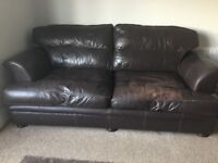 Brown Leather Sofas large 4 and 3 seater