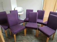 Dining Chairs x 8 with Purple coloured removable covers £35.00 each