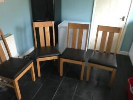 Solid Oak Leather seated Dining Chairs
