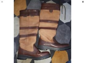 Ladies Dubarry Galway Boots Walnut Brown Leather Regular Fit Size UK 5 / EU 38