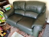Leather Sofa (2 seater) and 2 armchairs (3 piece suite)