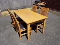 Solid wood Dining Table & 4 Matching Chairs 100% Leather FREE DELIVERY 056