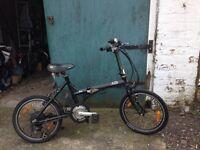 Black folding electric bike