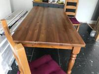 Solid pine dining table & 6 solid pine chairs