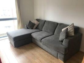 "DFS 4 seater corner sofa ""Freya"" from the house beautiful range. Graphite colour"