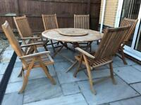Garden dining table and chairs - used