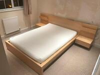 IKEA Malm Birch Double Bed with Mattress and Bedside Cabinets