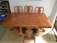 Solid wood walnut extendable dining table plus 6 chairs