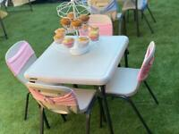 Chair hire, table hire, chair covers hire, table cloth hire, wedding decorations, kids party hire