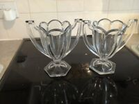Twin Handled Vintage Glass Vases