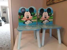 TWO SOILD WOOD MICKEY MOUSE CHAIRS IN NICE CONDITION