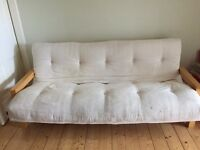 Futon type sofa bed - cream and pine