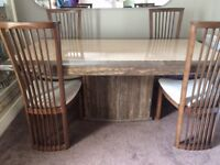 Marble dining table 4 chairs