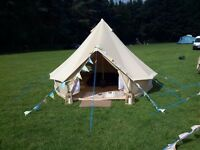 4m Cotton Canvas Bell tent with Zipped in Groundsheet