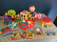 Selection of baby and toddler toys; ELC, VTech, Hamleys, Fisher Price