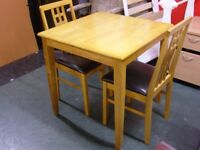 Solid Wood Square Dining Table and 2 Chairs