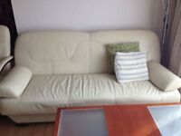Leather Sofa bed & 2 armchairs