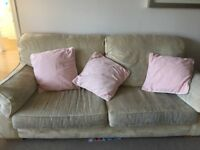 3 seater and 2 seater cream sofas