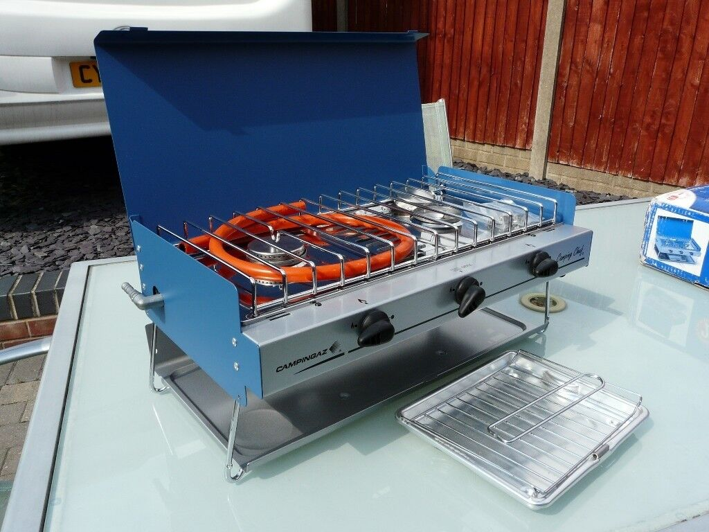BRAND NEW CAMPINGAZ, CAMPING CHEF BOUBLE BURNER & GRILL,GRILL PAN ...