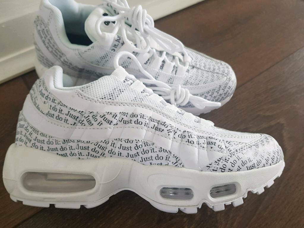 Nike Air Max 95 JUST DO IT PRINT trainers white black womens size 4 37 new b3fc9a64f
