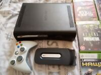 Xbox 360 120gb with wireless controller 13 games and webcam