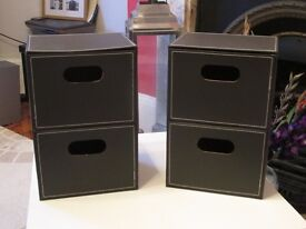 Pair of Faux Leather Drawer Units