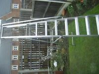 PLATFORM STEP LADDER ALUMINIUM 8 TREADS LIKE NEW WITH HAND RAILS ONLY USED A FEW TIMES INDOORS