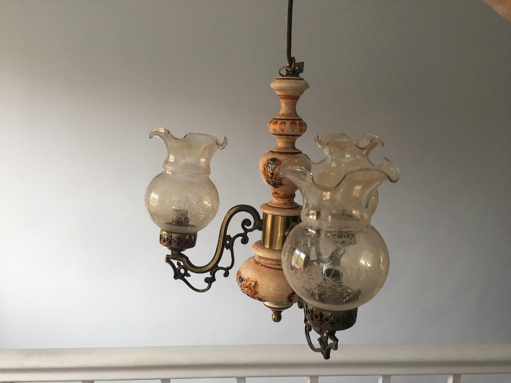 Vintage Suspended Ceiling Light and Matching Wall Light