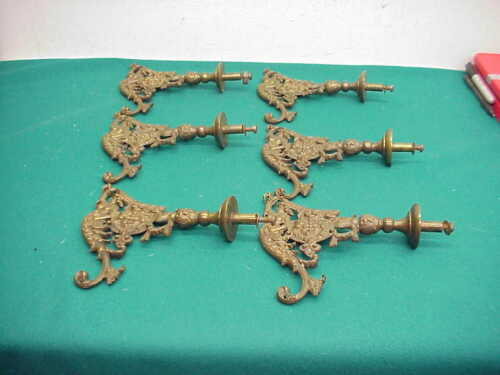 Victorian Antique Brass Mermaid 6 Hall Rack Hooks