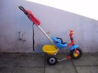 Toddlers First Trike by Berchet w/Parent Handle, Red, Yellow & Blue, Great Condition, CHEAP PRICE!!!