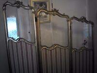 Antique screen gilt gold red Regency French glass/ silk