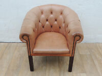 Chesterfield Tub leather chair suitable for bedroom (Delivery)
