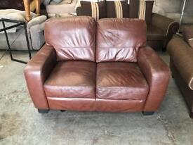 Gorgeous brow leather 2 seater sofa