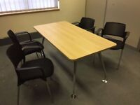 2 X MEETING TABLES - 1600MM X 800MM - IN OAK - VERY GOOD GOND