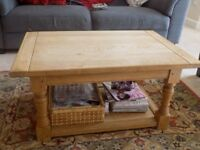 Solid Oak wood Rectangular Coffee Table with Storage Space