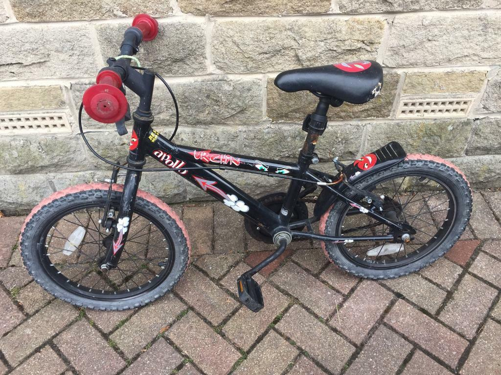 Childs bikein Barkisland, West YorkshireGumtree - Urchin Apollo childrens bike in black and red. In need of a little TLC hence the cheap price. Tyres require blowing up/replacing and brakes need an oil. Collection only