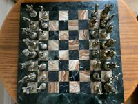 Chess Set, Marble Board and Brass pieces