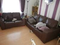 3 seater & 2 seater leather sofas