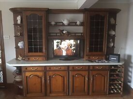kitchen units solid oak door cabinets plus display units and used as dresser.