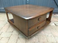 Ercol Vintage Retro Mid Century Modern Pandora's Box Coffee Table - Delivery Available