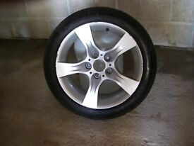 alloy wheel and tyre for BMW 5series some kerbing tyre as new