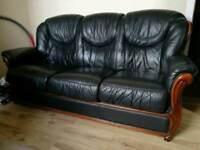 Three seater sofa (black leather)