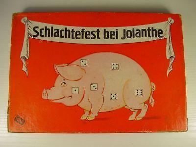 """Antikes seltenes Würfelspiel """" Schlachtfest bei Jolanthe """" in OVP vor 1945"""