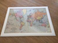 Vintage style framed world map (wedding)