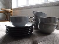 DENBY grey / black Jet - large coffee cups and saucers - like new RRP £130