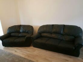 DARK GREEN 3+2 LEATHER SOFAS - MUST GO ASAP - FREE DELIVERY- SOME AREAS THIS WEEK - £275